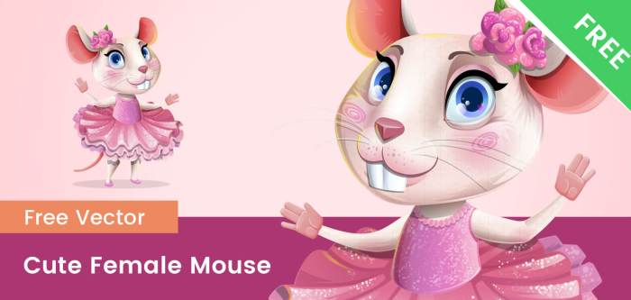 Cute Free Female Mouse Kid Vector Character
