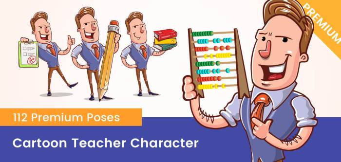 Cartoon Teacher Vector Character Set