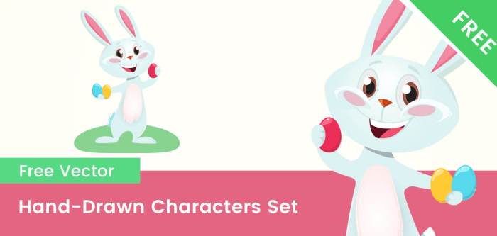 Free Easter Bunny Cartoon Vector Character