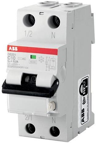 Дифференциальный автомат 1P+N 6А DS201 тип AC, 6 кА ABB ...