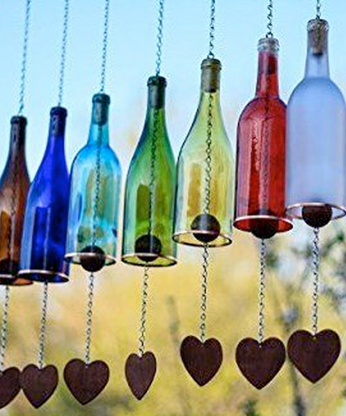 9 Adorable Garden Crafts to Make With Wine Bottles DIY wine bottle wind chimes