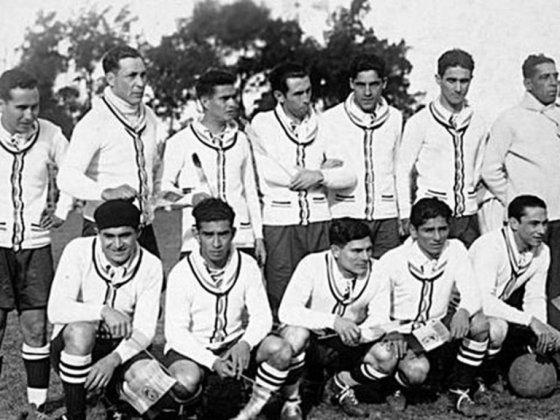 Хосе Мануел Лагуна (вдясно) като треньор на Парагвай на първото по рода си Световно първенство в Уругвай през 1930 г.
