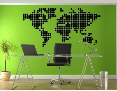 Wall Sticker World Map Blocks Walldesign56 Wall Decals