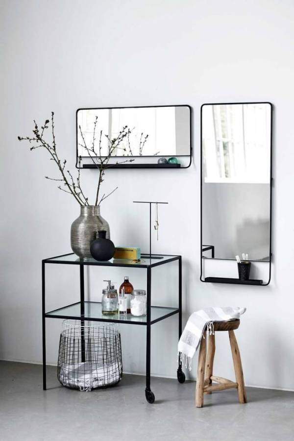 House Doctor Chic mirror with shelve black LIVING AND CO