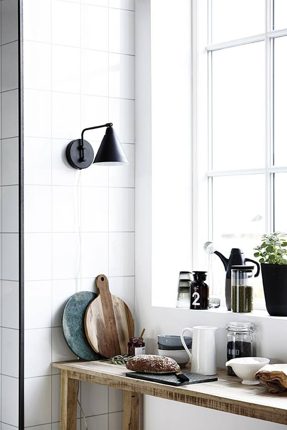 House Doctor Game wall lamp black metal white LIVING AND CO