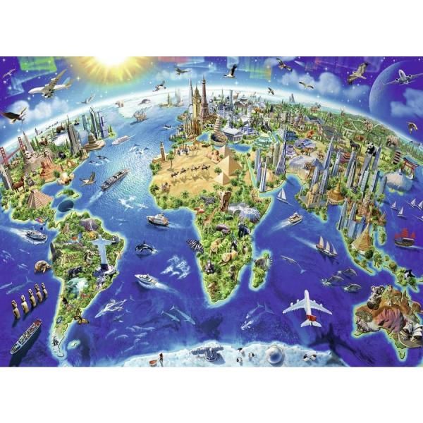 Ravensburger World Map in symbols   200 pieces puzzle   Puzzles123 World Map in symbols   200 pieces puzzle