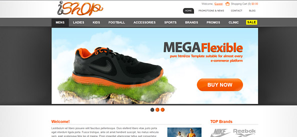 Ecommerce Website Css Template For Sporting Goods Website