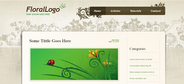 Free Website CSS Template with Flower Ornaments
