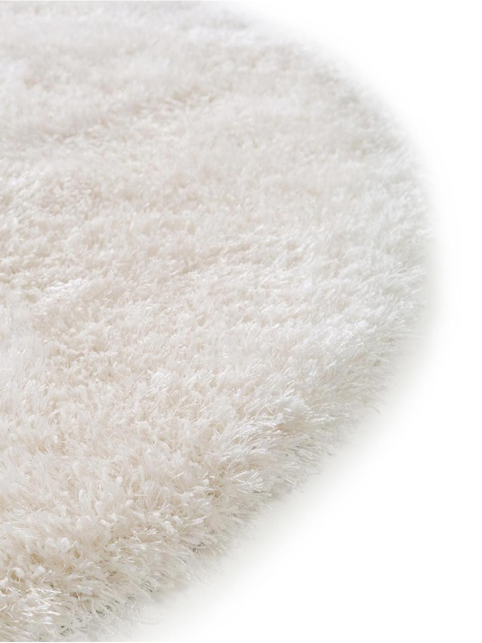 tapis rond blanc poils longs lea
