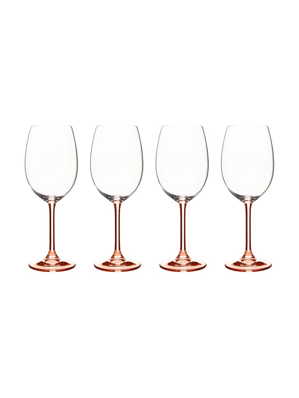 verres a vin rouge avec pied en teinte rose 4 pieces
