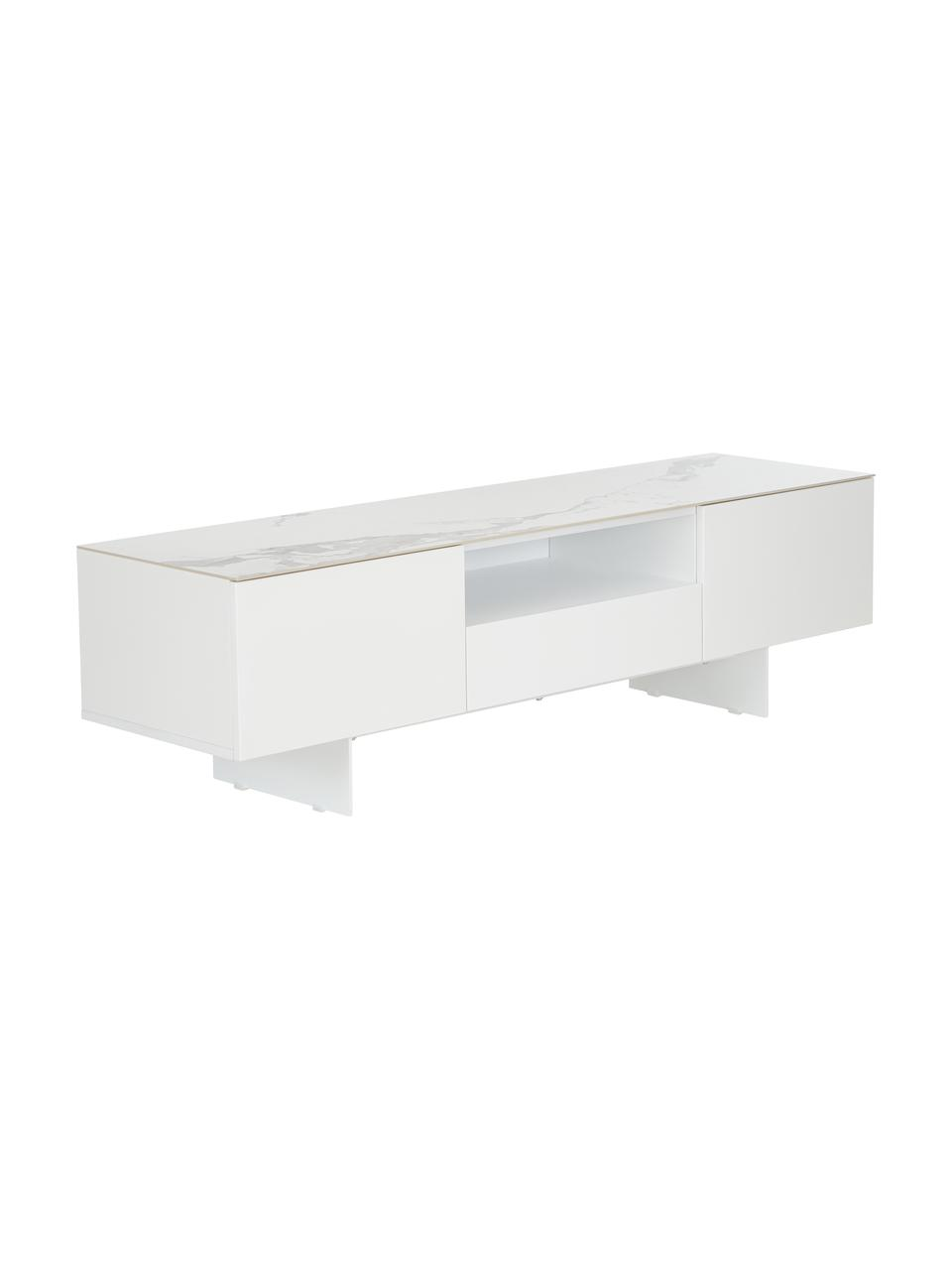 meuble tv blanc avec plateau aspect marbre fiona