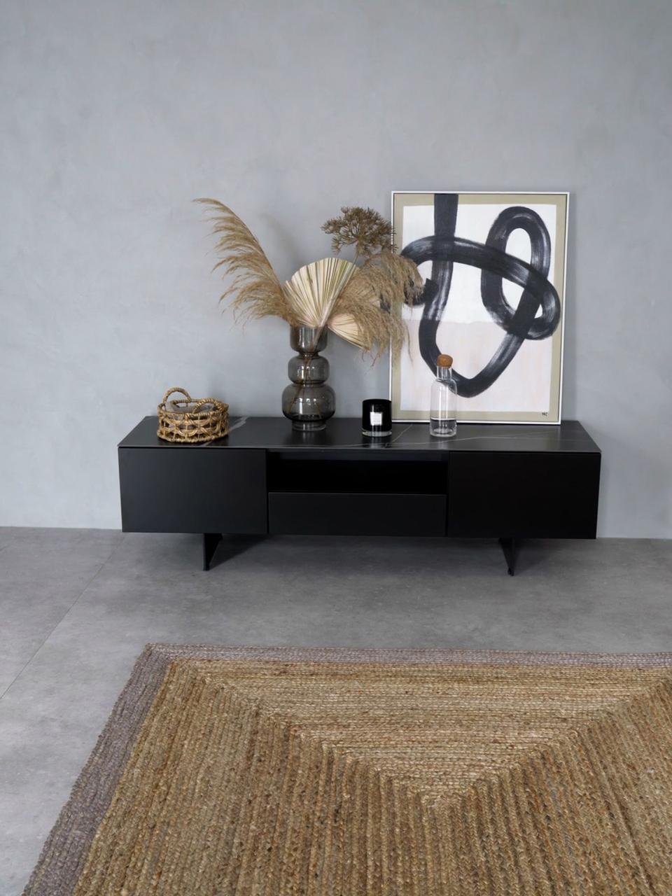 meuble tv noir avec plateau aspect marbre fiona
