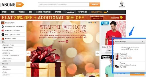 Persistent Shopping Cart On Jabong.com