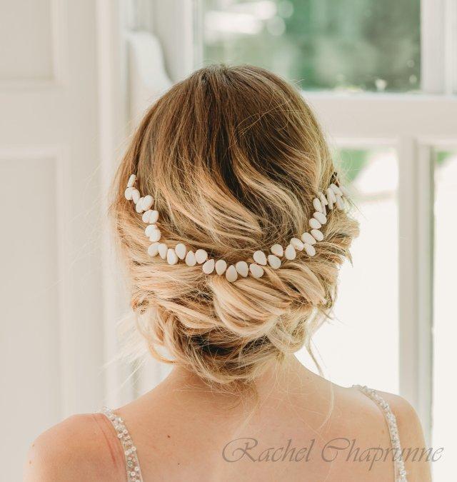 mother of pearl leaves bridal hair vine