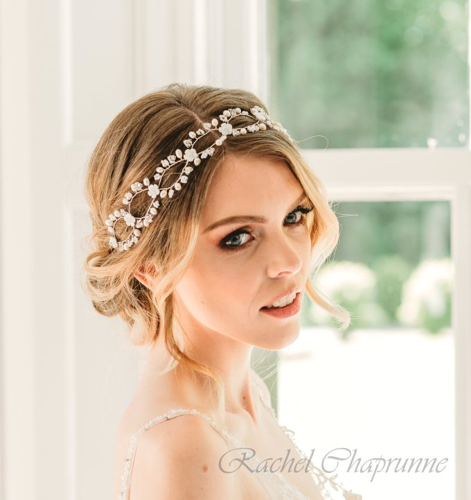 boho bridal hair vine with mother of pearl flowers