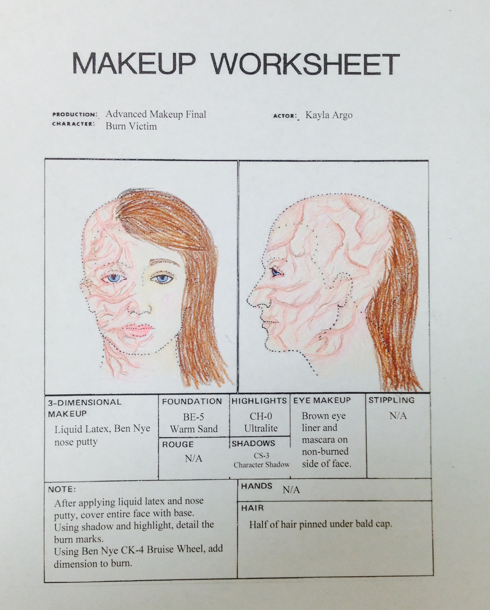 Hair Makeup Worksheet