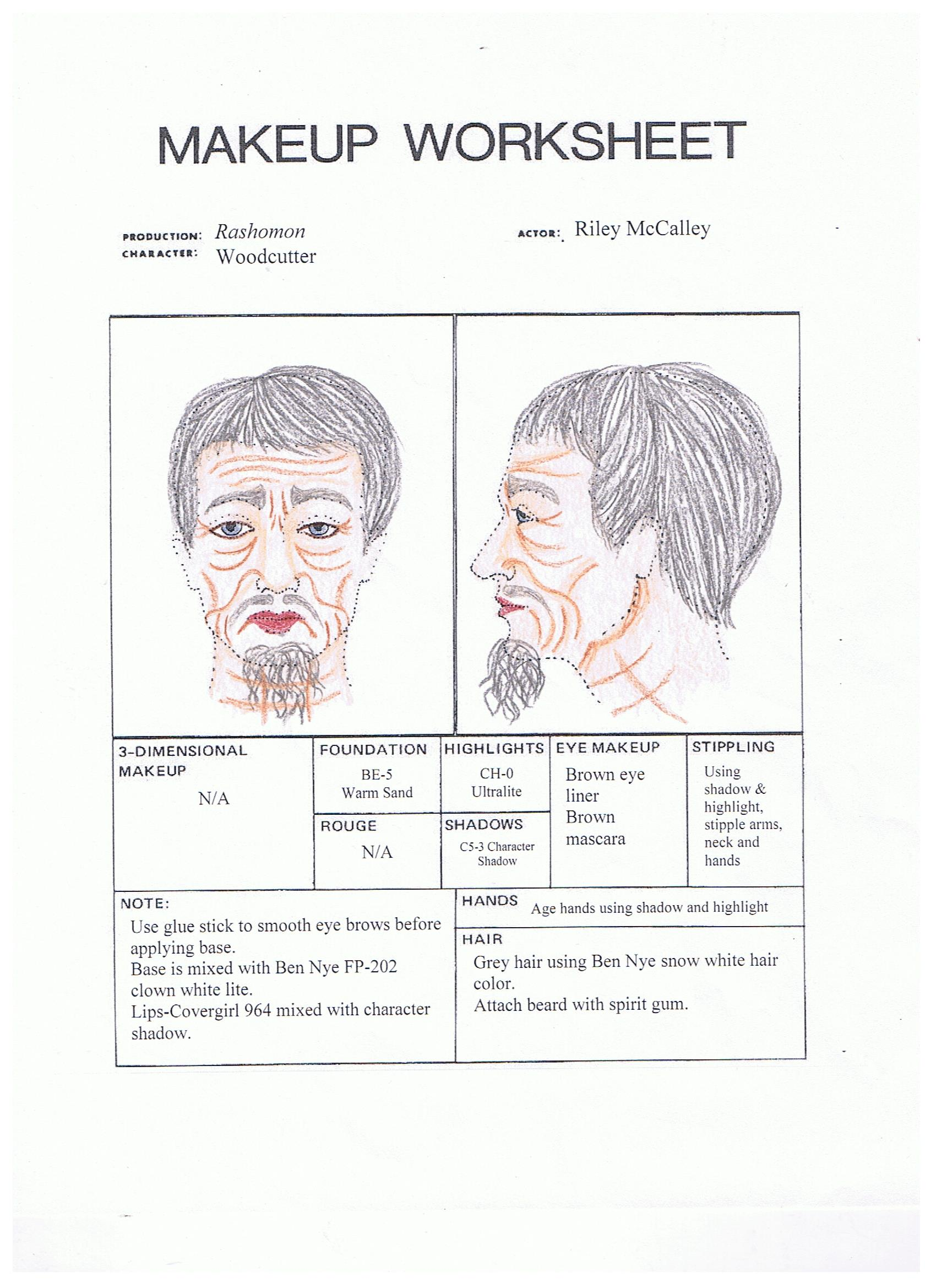 Theatre Makeup Worksheet