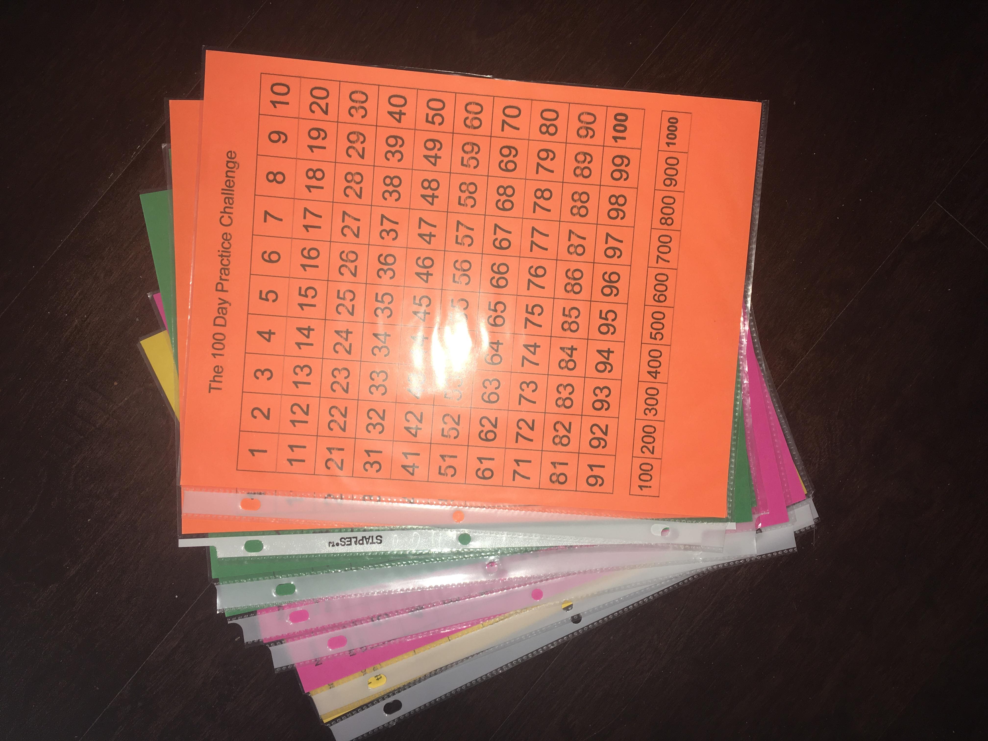 100 Day Practice Challenge Worksheet Freebie
