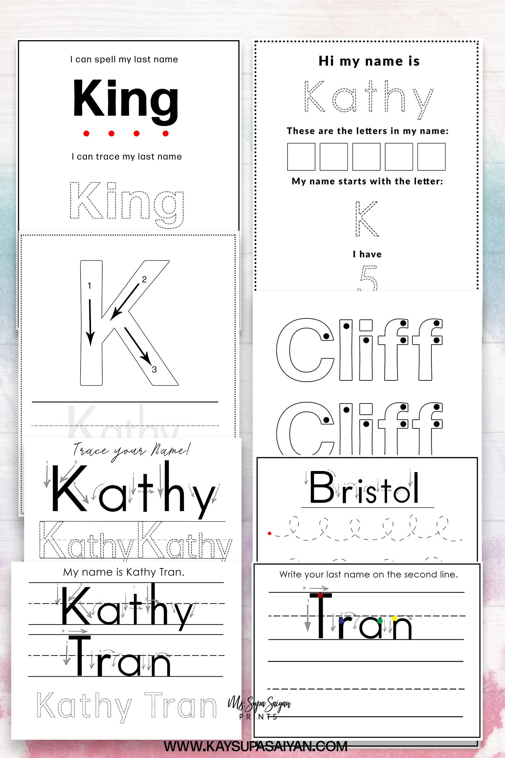 Custom Name Writing Worksheets