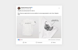 Example of Chipotle taking advantage of trending topics for the election as a social media post with t shirt