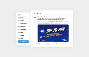 visa does a giveaway on twitter - example for content ideas