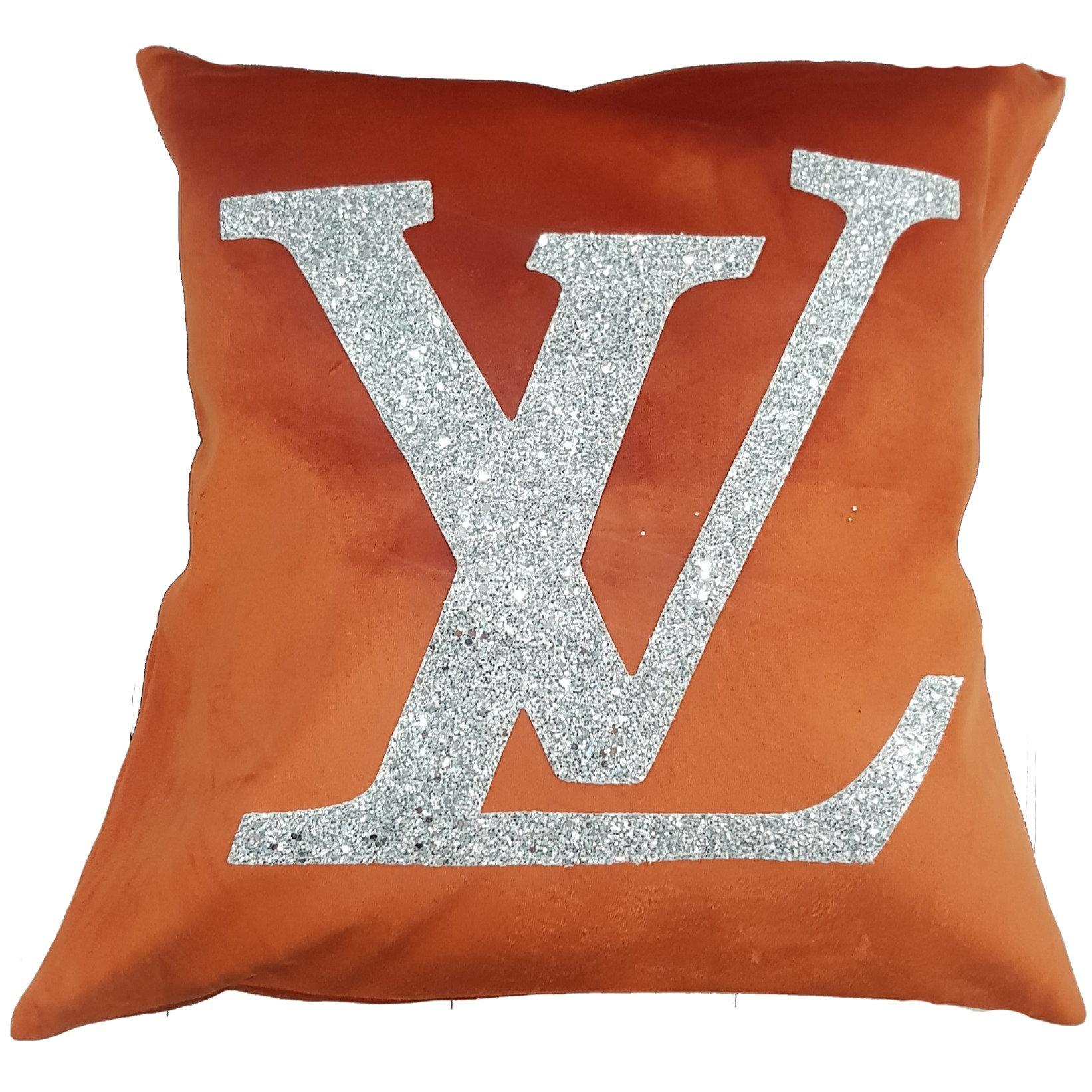 lv logo cushion orange velvet with silver glitter cosy home cushions