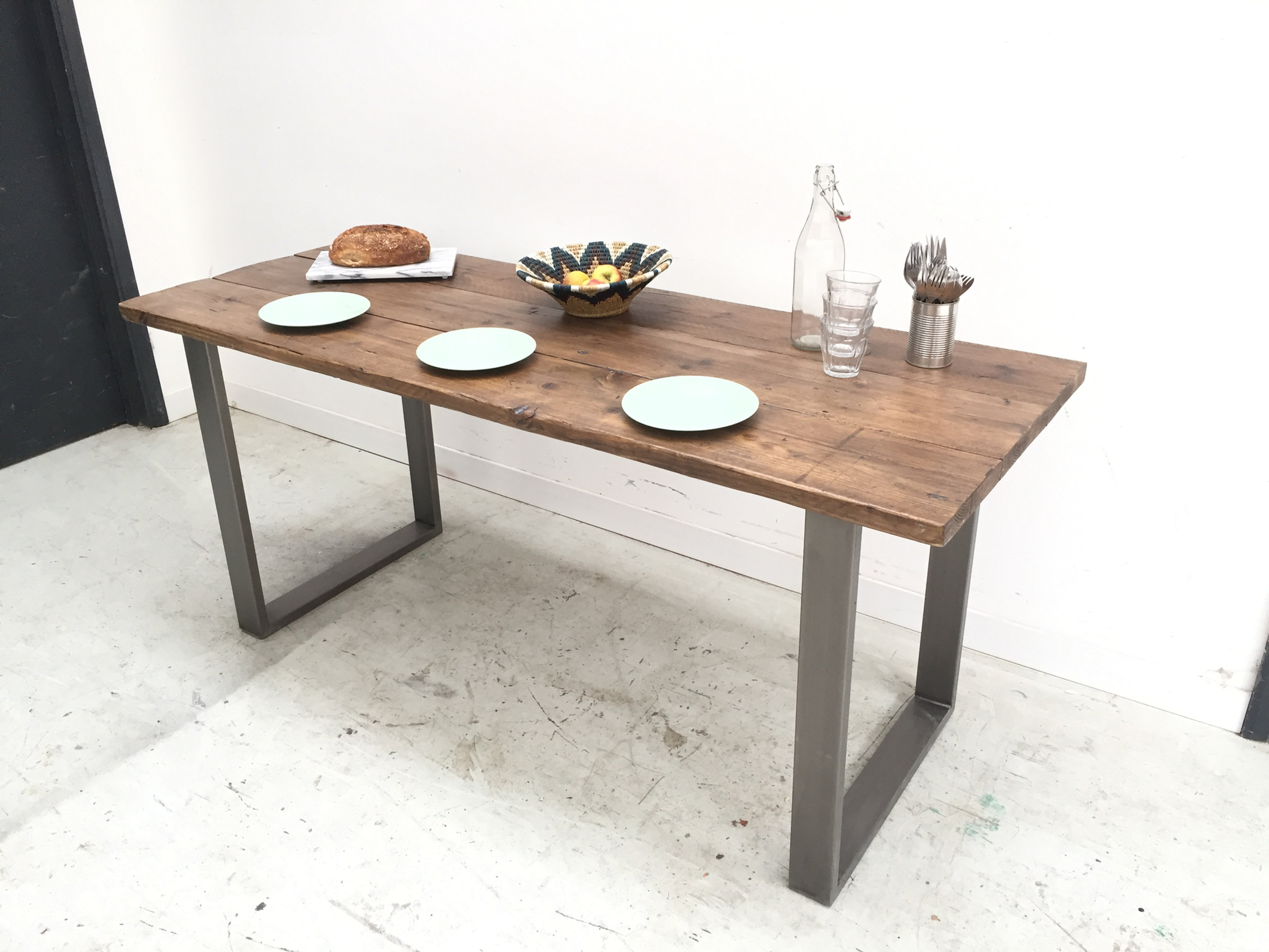 industrial box frame leg kitchen dining table thinkfound furniture