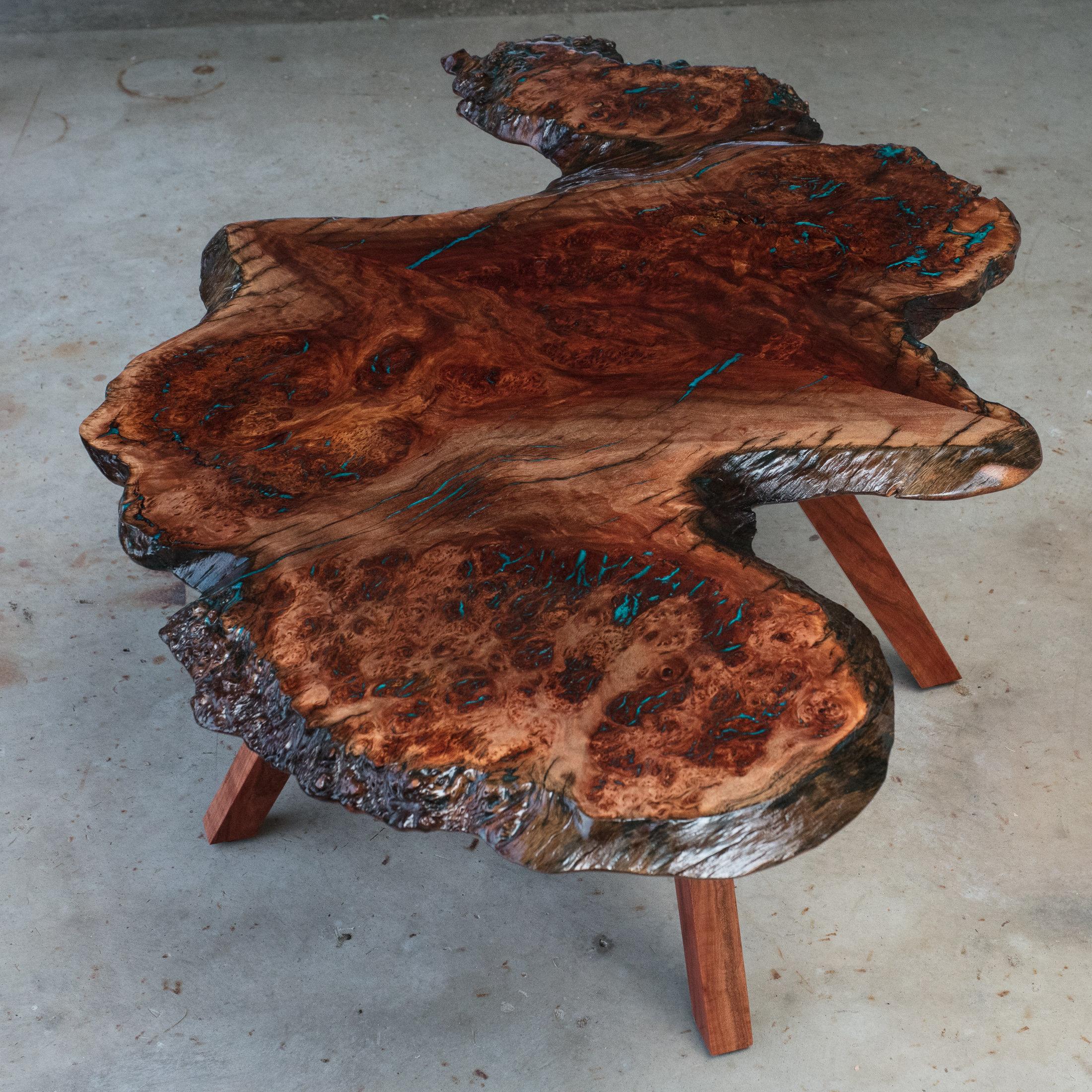 red gum eucalyptus burl natural edge coffee table lumberlust designs