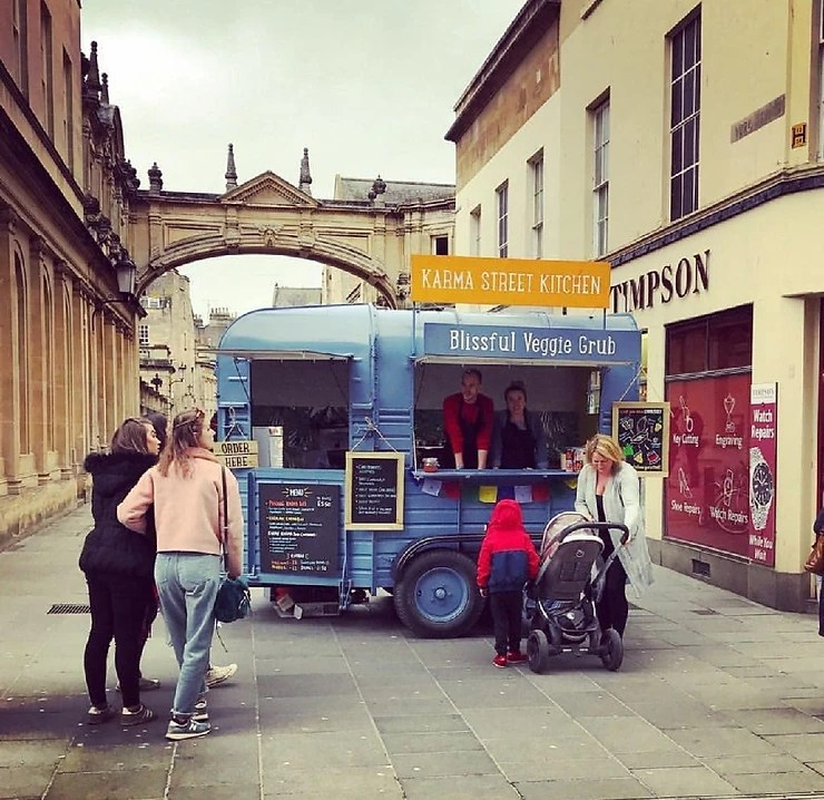 vegan street food served from a converted horsebox