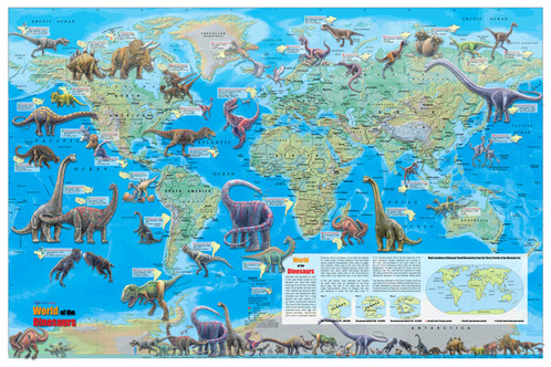 World of the Dinosaurs Wall Map Poster 36 x24  World of the Dinosaurs Wall Map Poster