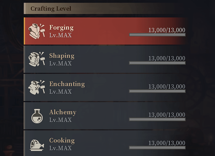 Get all your crafting skills to max