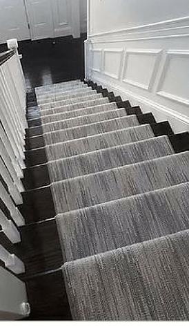 Stair Runners Carpet Hall Runners K Powers Company   White Stairs With Grey Carpet   Top   Laminate Flooring Carpet   White Staircase   Grey Stripe   Dark Grey