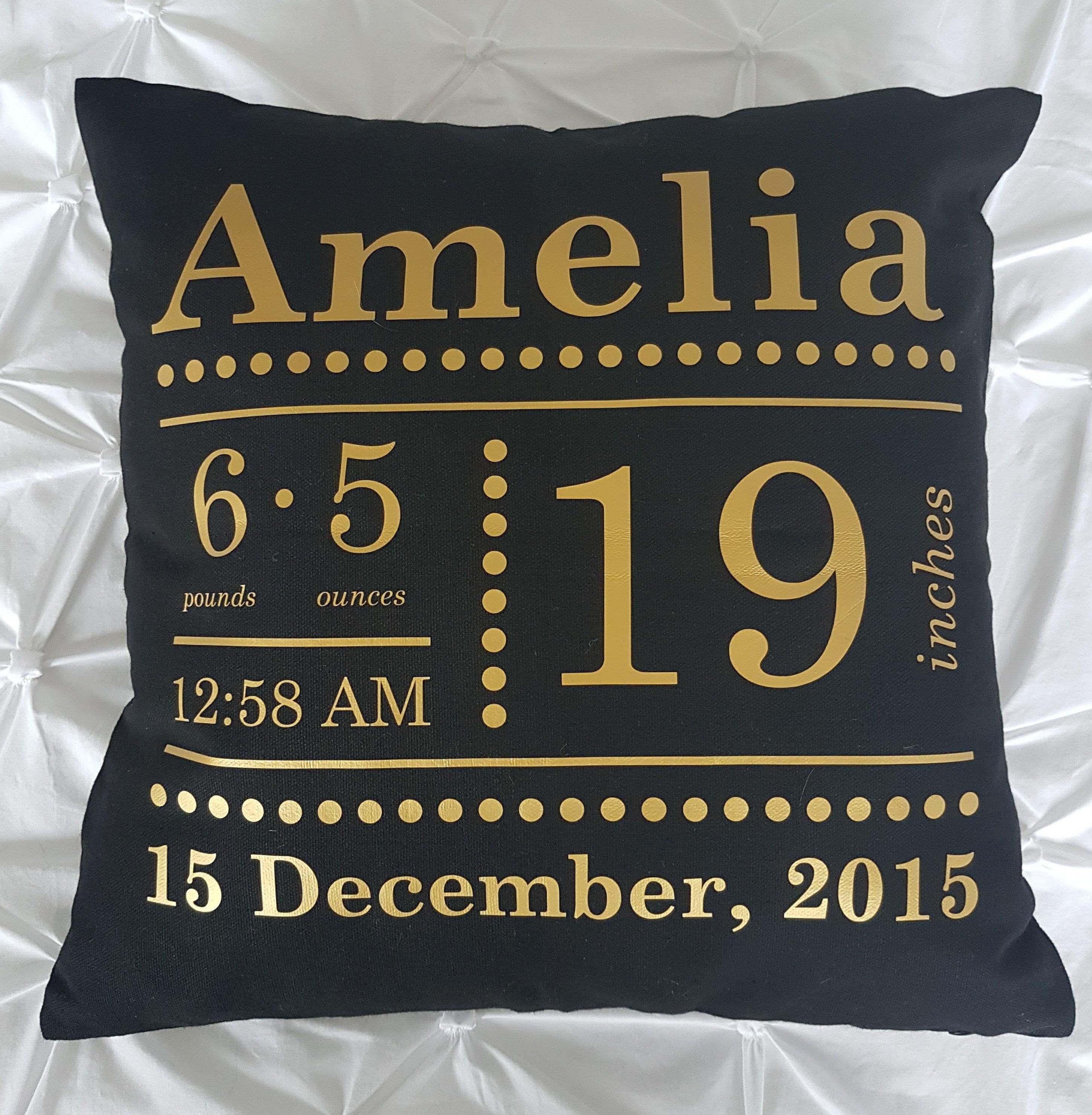 personalised birth announcement cushion black shopjess