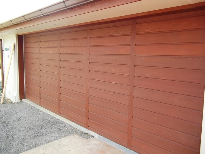 CD M   Garage Doors Rusticated shiplap cedar garage door