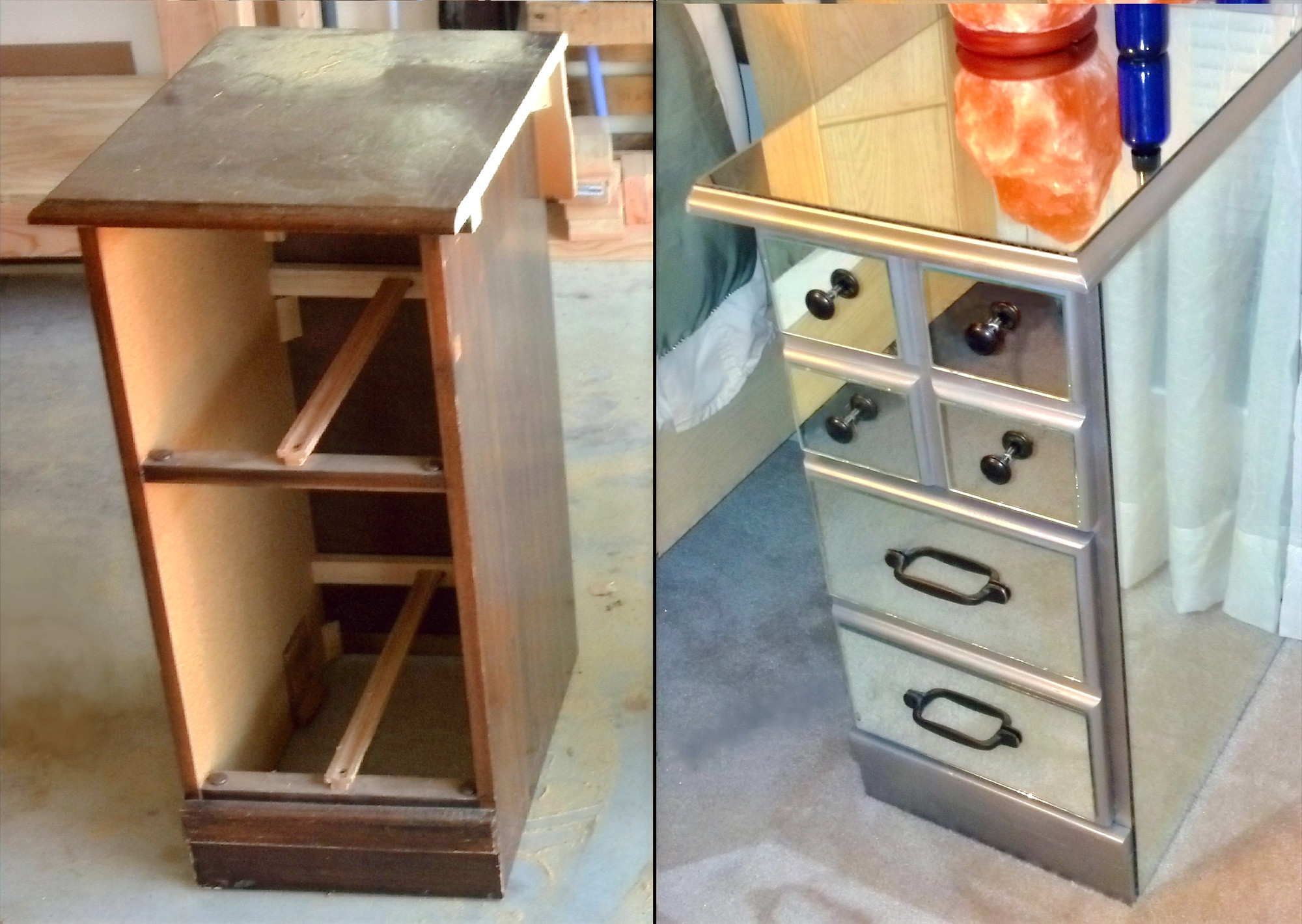 diy mirrored nightstands from an old desk