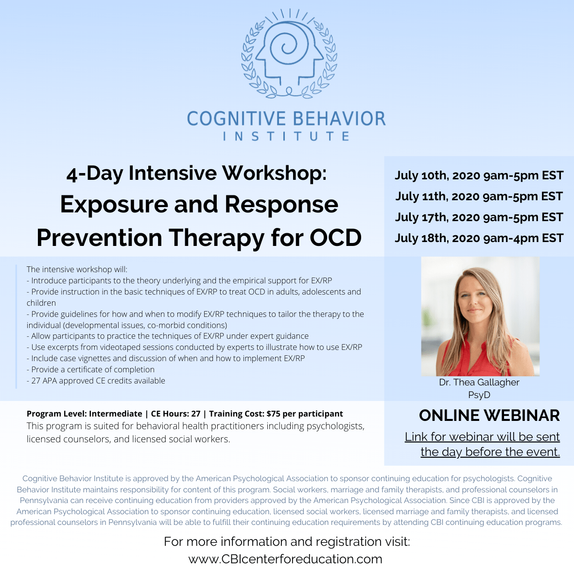 4 Day Intensive Workshop Exposure And Response Prevention