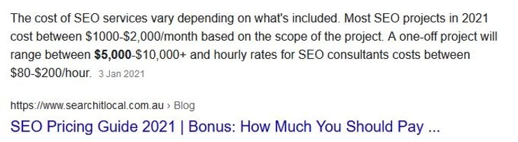 how much is seo services