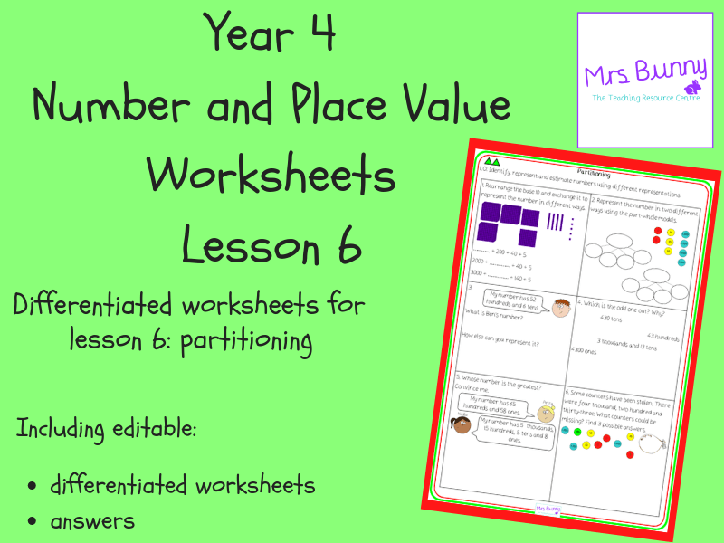 Partitioning Worksheets Year 4 Number And Place Value