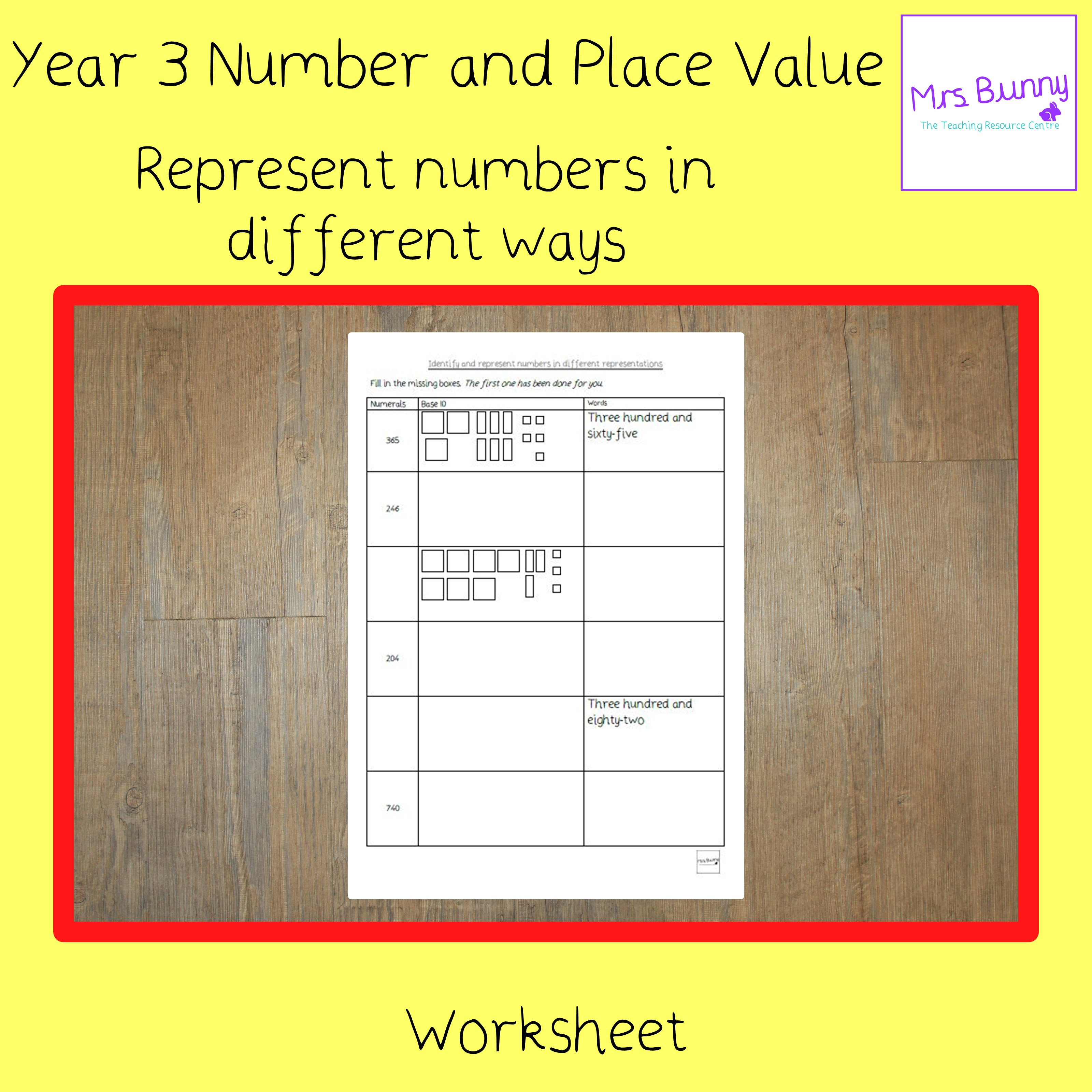 Represent Numbers In Different Ways Worksheet Year 3