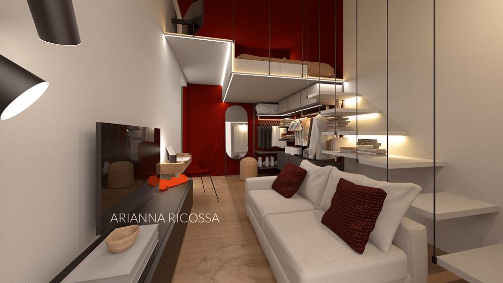 Secondo l'articolo 2, le superfici minime per la camere da letto sono di :. Progettazione Di 9 Mq Camera Da Letto Cabina Armadio Living In 9 Mq