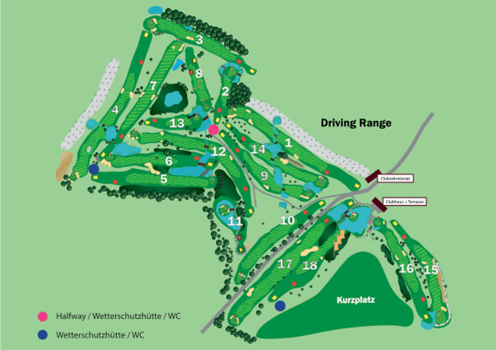 The map of Machern's 18-hole golf course. (Image: Golf & Country Club Leipzig)