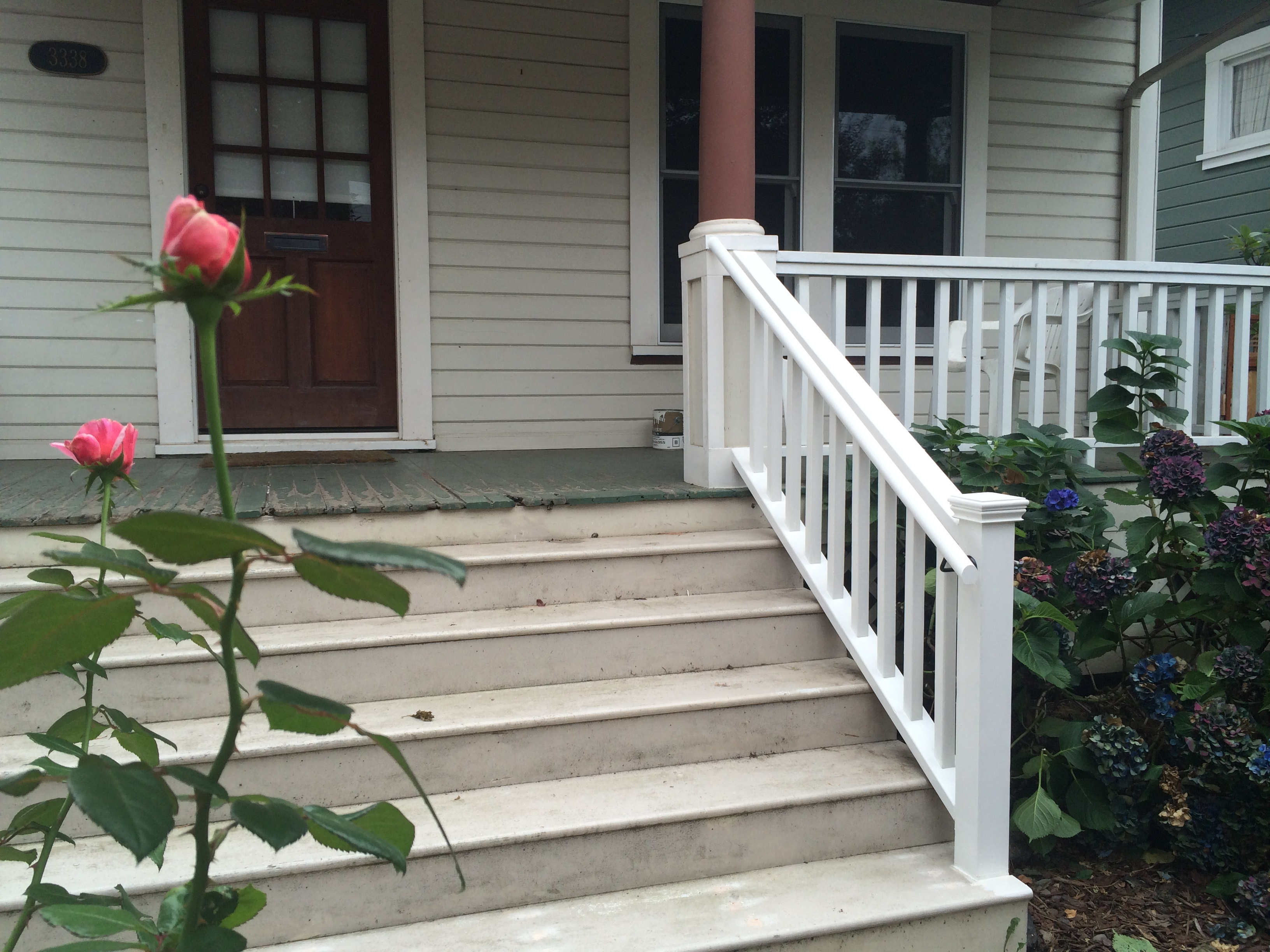 Gallery Builder By Bike | Front Porch Stair Railing | Single Step | Outdoor | Rail | Pressure Treated | White