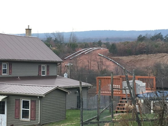 Mariner East 2 pipeline construction vey close to a home in Huntingdon, PA