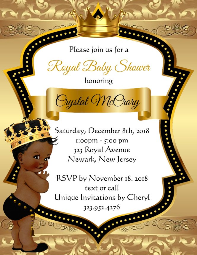 Golden Little Prince Baby Shower Invitations Sold In Sets Of 10