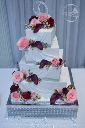 Forever After Cakes   Groom s Cakes Square Pink and Burgundy Wedding Cake with Swags