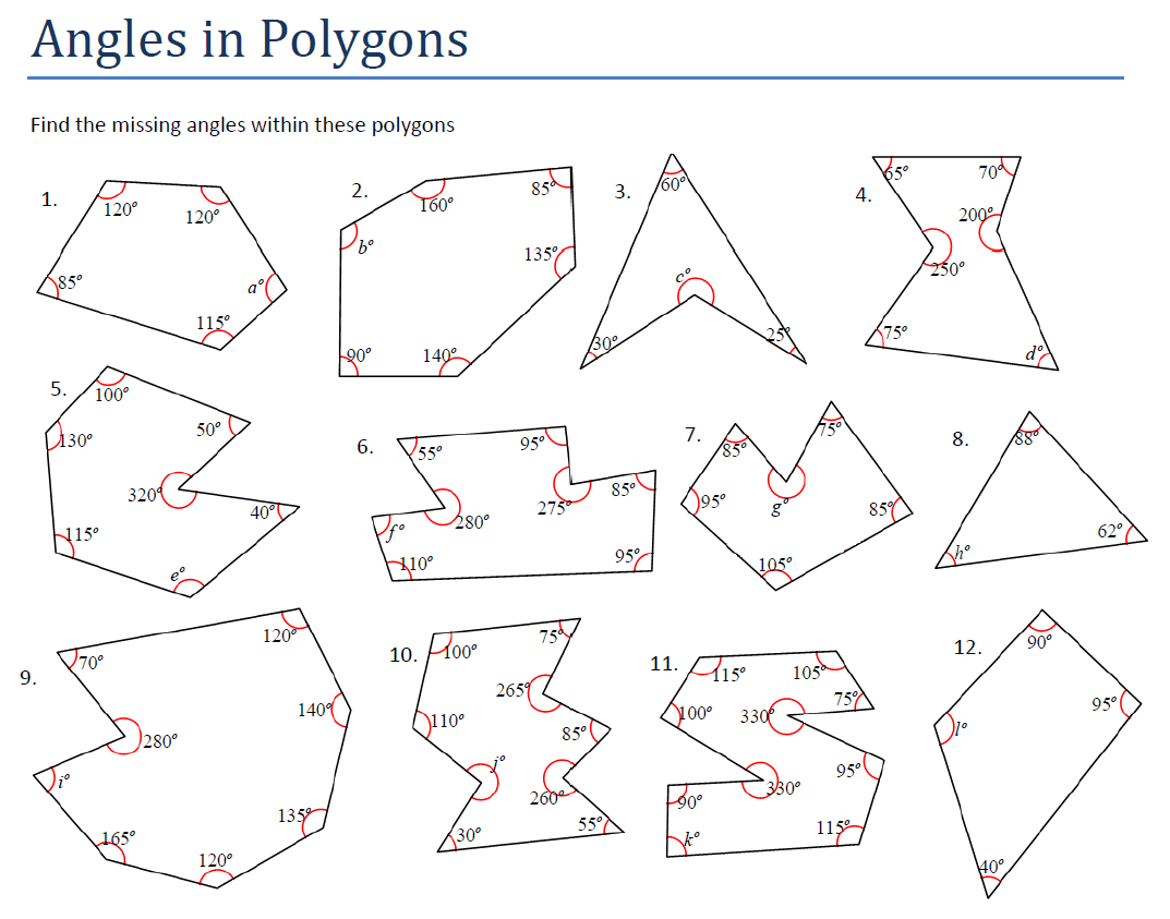 Worksheet Interior Angles Of A Polygon Worksheet Grass