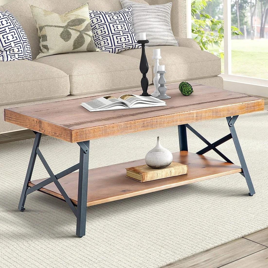 rustic brown wood coffee table with metal legs buen hogar furniture
