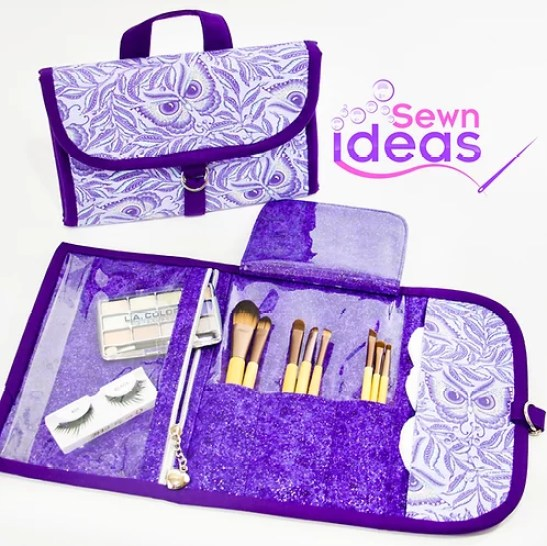 Keep your makeup and brushes organized, when you out with a On-The-Go Cosmetic Bag that you sew with a digital sewing pattern by Sewn Ideas.