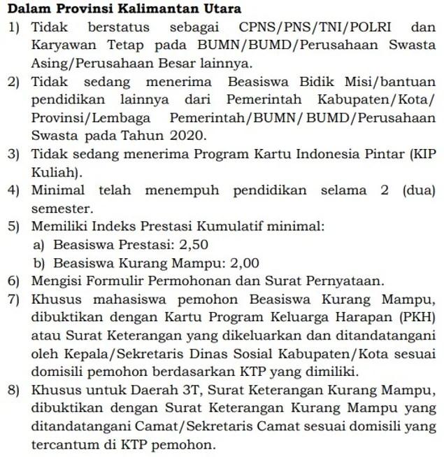Pengumuman Seleksi Beasiswa Kaltara Cerdas 2020 2021.
