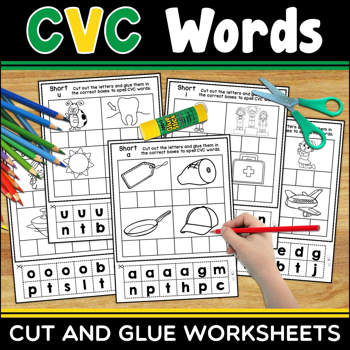 Cvc Words Cut And Glue Worksheets